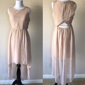 ASOS VILA Gold Studded Shoulder High-Low Dress M